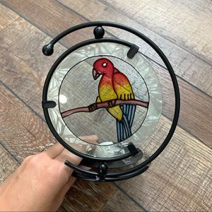 Stained Glass Parrot Candle Holder